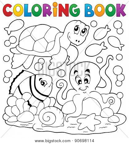 Coloring book with sea animals 5 - eps10 vector illustration.