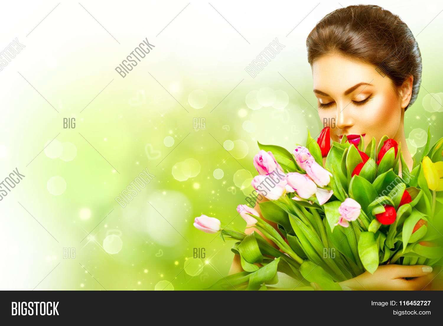 Beautiful girl bouquet image photo free trial bigstock beautiful girl with a bouquet of colorful tulip flowers beauty woman with spring flower bunch izmirmasajfo