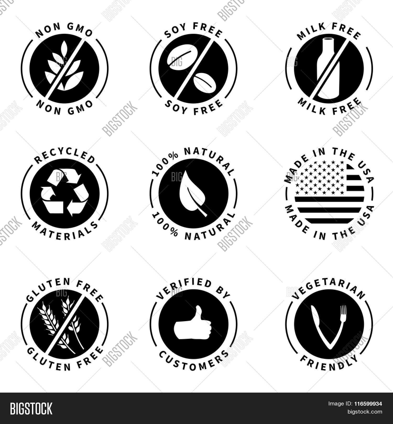 Food product labels badges 100 vector photo bigstock 100 natural gluten free non gmo buycottarizona Images