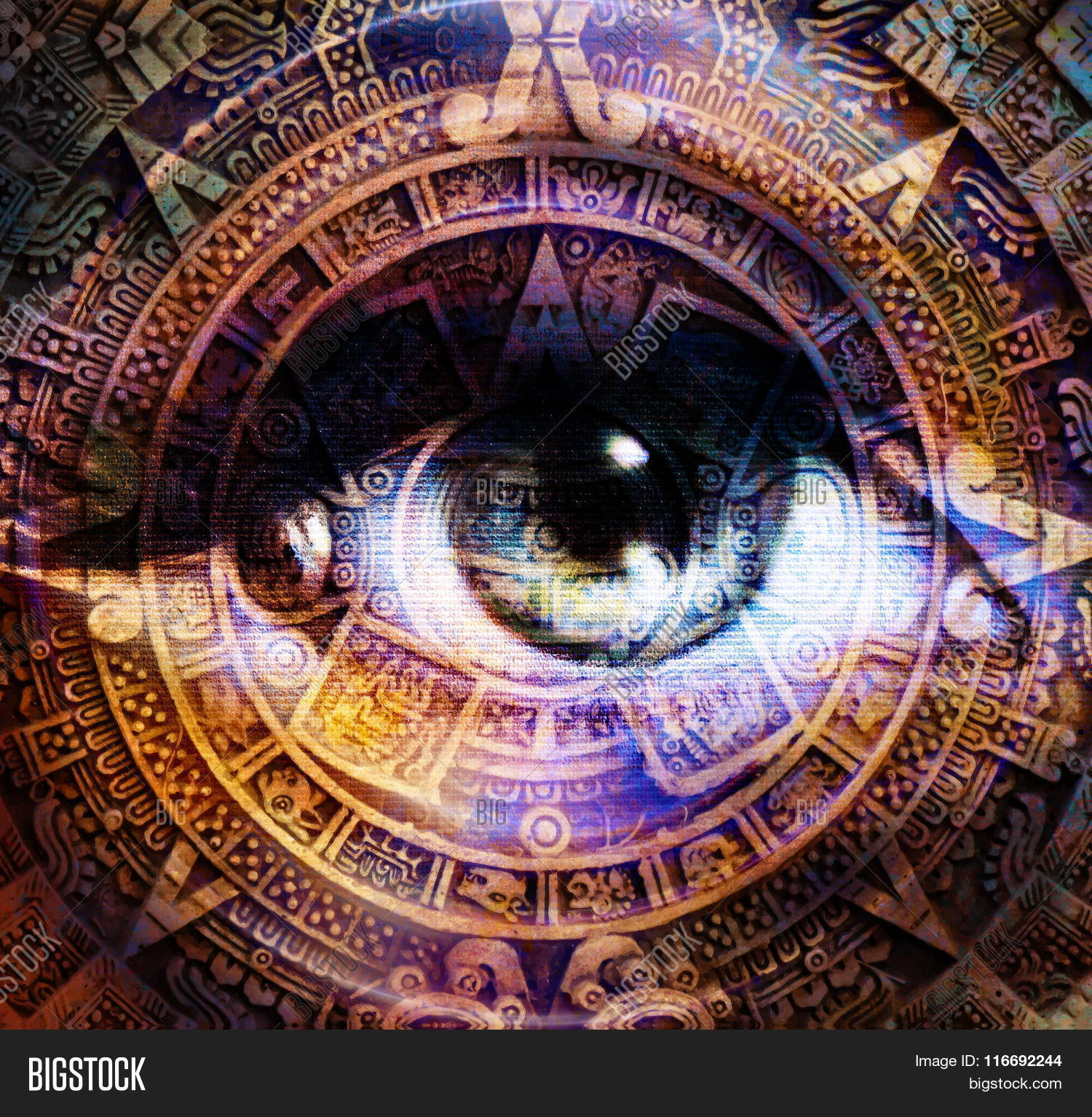 Ancient Mayan Calendar Woman Eye Image Photo Bigstock