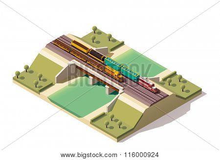 Isometric icon representing train bridge with locomotives