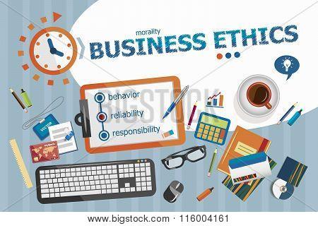 Business Ethics Design Concept. Typographic Poster.