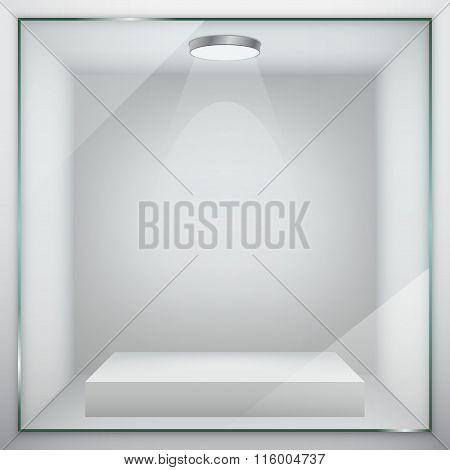 Empty glass showcase for exhibit. Vector illustration. poster