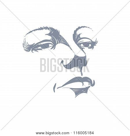 Black And White Illustration Of Lady Face, Delicate Visage Features. Eyes And Lips Of A Sorrowful Wo