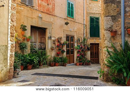 Typical balearic flowered house entrances