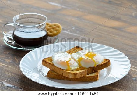 Eggs Benedict.Poached egg on toast