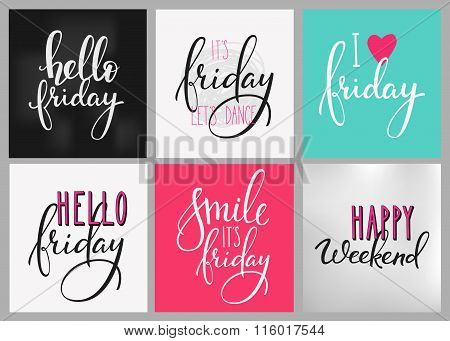 Friday Weekend Lettering Postcard Set