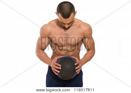 Man Workout With Medical Ball On White Background