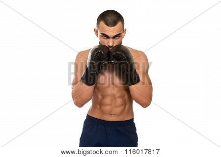Man With Boxing Gloves Isolated On White Background