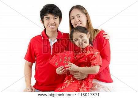 Asian family wishing you a happy Chinese new year