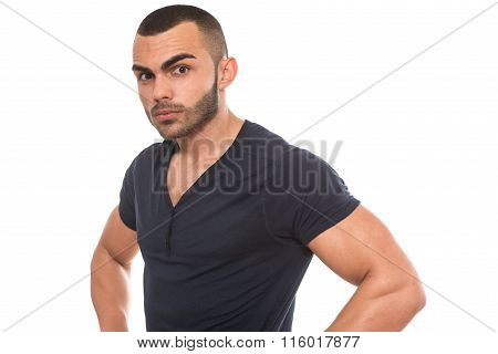 Black T-shirt On A Young Man Isolated