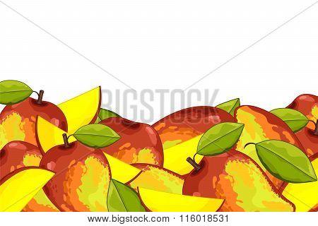 Mango isolated on white background. Mango fruit plants and leaves. Organic fruit. Mango  vector. Fruit for mango juice. Ripe mango composition. Mango with green leaves.