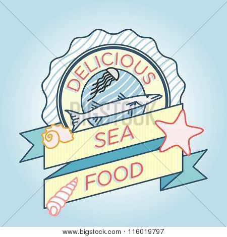 Vector Line Barracuda Jellyfish Label Seafood Badge Ribbon