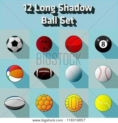 Vector Long Shadow Flat 12 Ball Icon Set