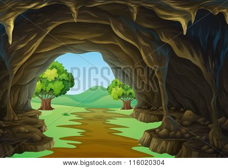 Nature scene of cave and trail illustration