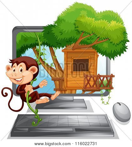 Monkey climbing up the treehouse on computer screen illustration