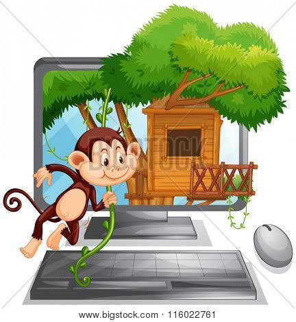 Computer screen with monkey playing at treehouse illustration