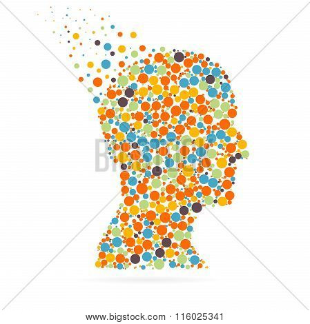 Abstract creative concept vector silhouette head for Web and Mobile Applications isolated on white b