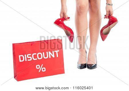 Woman Shoes Discount Concept.
