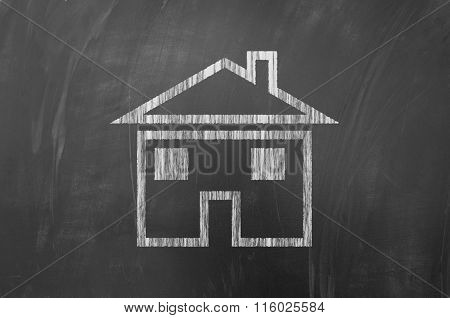 House Shape On Blackboard.