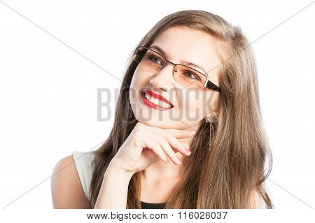 Beautiful And Smart Business Woman With Glasses Thinking.