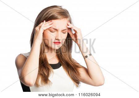 Business Woman Acting A Headache.