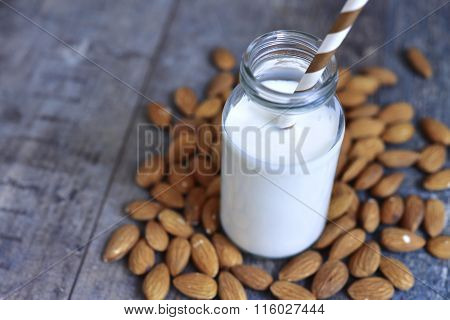 Almond Milk In A Bottle.