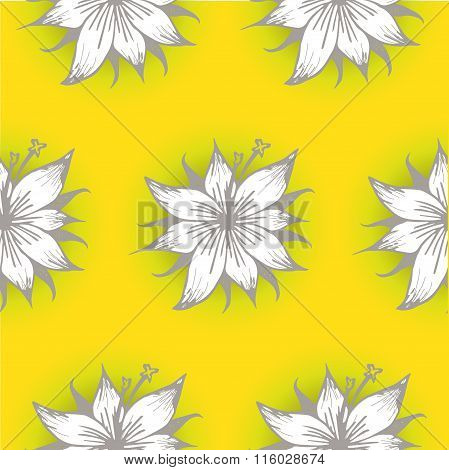 Lily Ink Seamless Pattern
