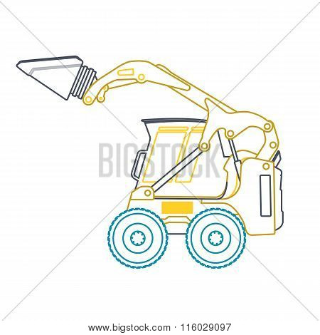 Yellow blue small outline digger on white.