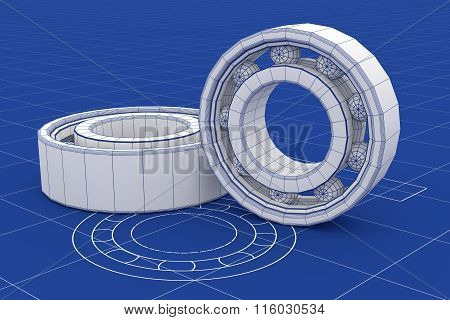 Ball Bearing  Mesh Over A Blueprint Background