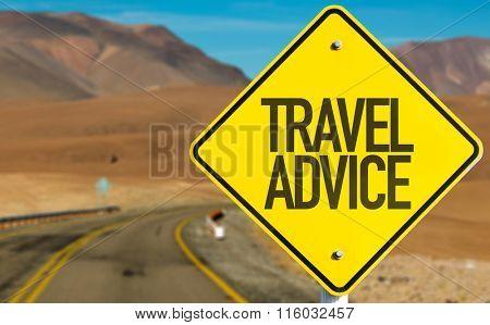 Travel Advice sign on desert road