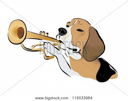 Illustration of a Beagle Dog Playing on Trumpet