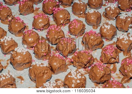 Homemade Chocolate Confectionary With Sugar