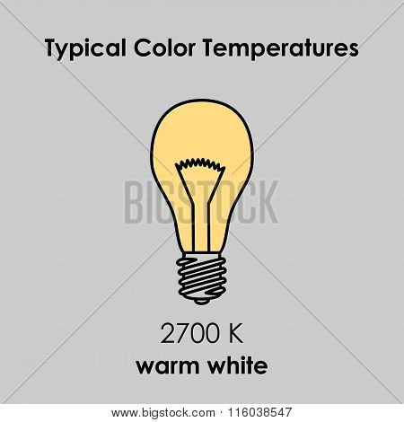 Typical Color Temperature Of Bulb. Vector.