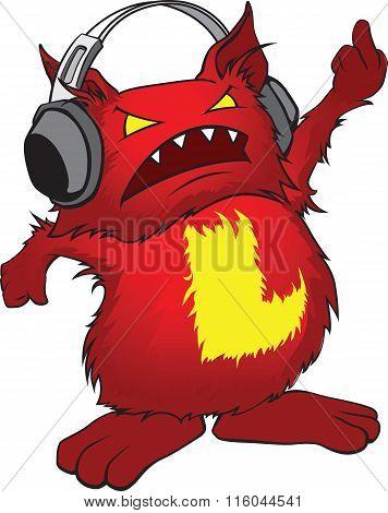 Evil Little Red Cartoon Monster With Headphones.