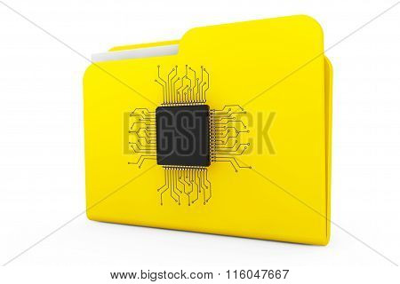 Yellow Folder With Microchip
