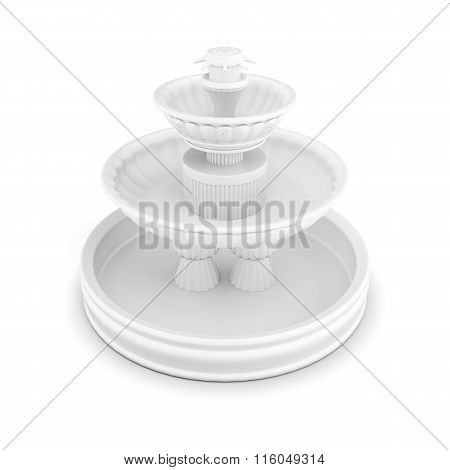Three-tiered fountain on a white background.