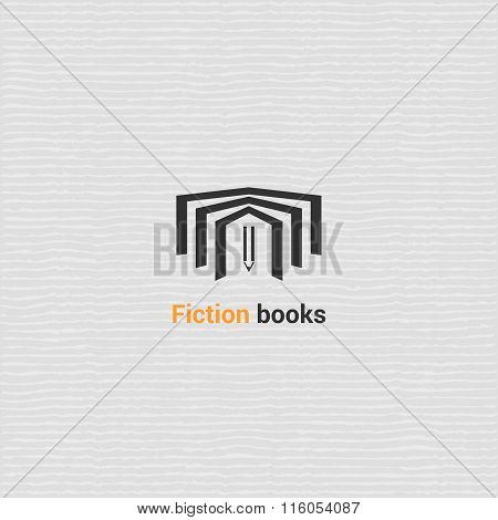 Bookstore vector logo template with open book