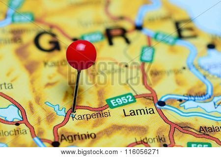 Karpenisi pinned on a map of Greece