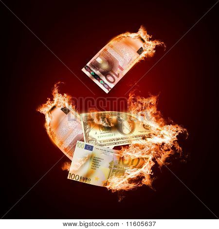 Banknotes open arms fire