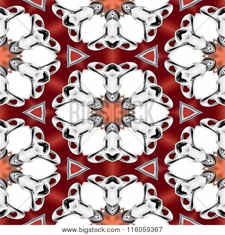 Abstract Red And Chrome Metallic Floral Pattern Made Seamless