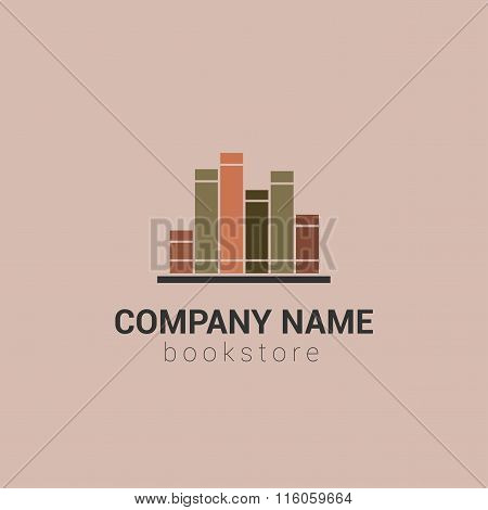 Bookstore or library vector logo template