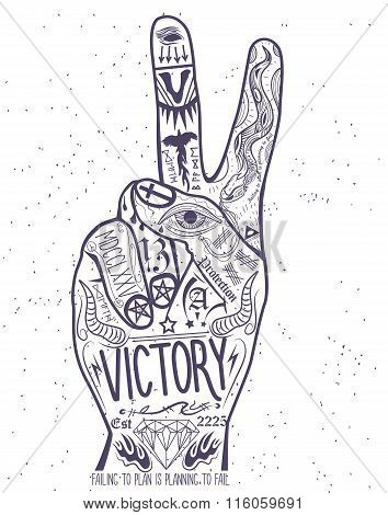 Vintage victory hand symbol. Printing Elements.