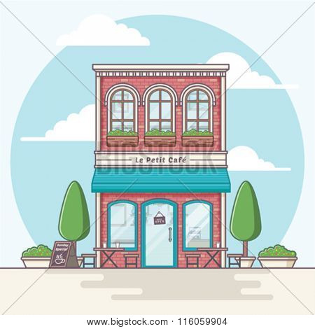 Coffeeshop building illustration