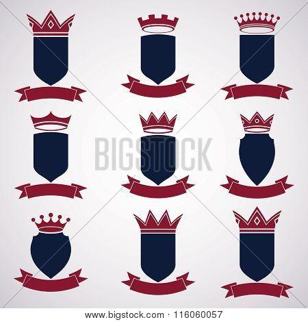 Collection Of Empire Design Elements. Heraldic Royal Coronet Illustration - Imperial Striped Decorat