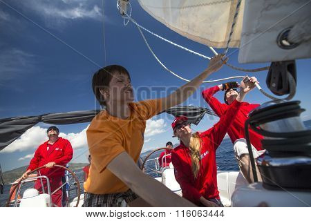 ERMIONI, GREECE - CIRCA MAY, 2014: Sailors participate in sailing regatta 11th Ellada 2014 among Greek island group in the Aegean Sea, in Cyclades and Argo-Saronic Gulf.