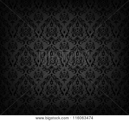 Vector illustration of black  wallpaper pattern
