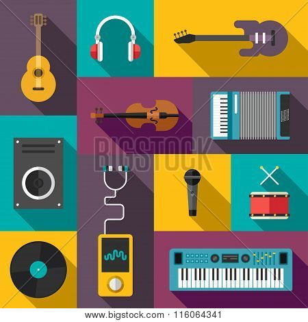 Set Of Vector Flat Style Musical Icons With Long Shadow. Guitar, Headphones, Violin, Player, Speaker
