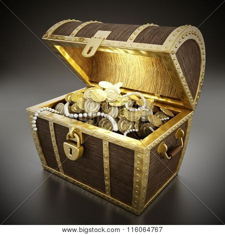 Treasure chest full of treasures. Texture on the coins is fictitious. poster