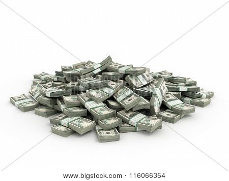 Pile Of Packs Of Dollar Bills